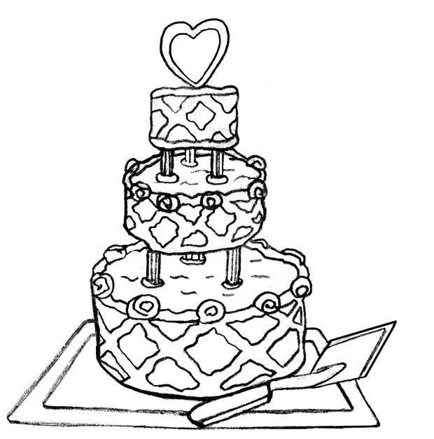 Modern Wedding Cake Coloring Pages