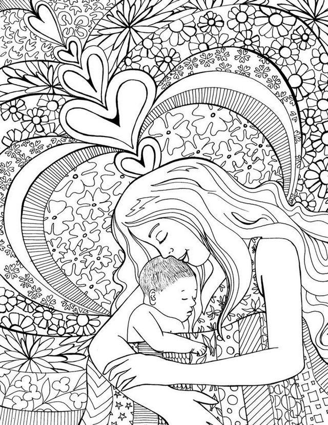 Mom And Baby After Birth Coloring Page