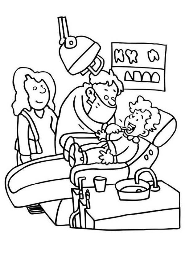 Mommy And I Going To Dentist Coloring Pages