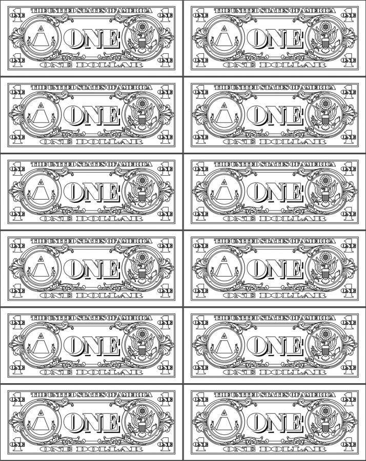 Money Coloring Pages One Dollar