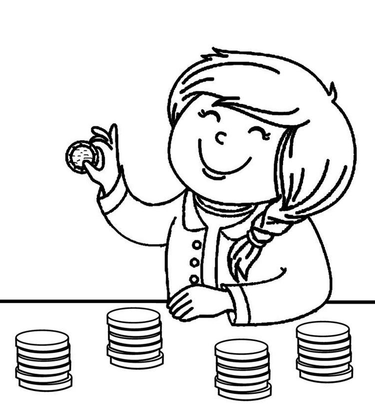 Money Coloring Pages With A Girl