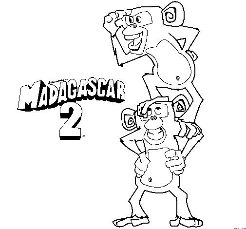 Monkey Coloring Pages For Kids Madagascar 2