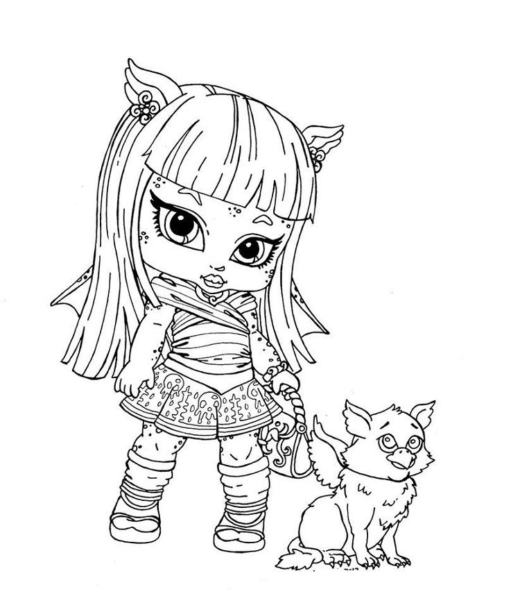 Monster High Coloring Pages Baby And Pet