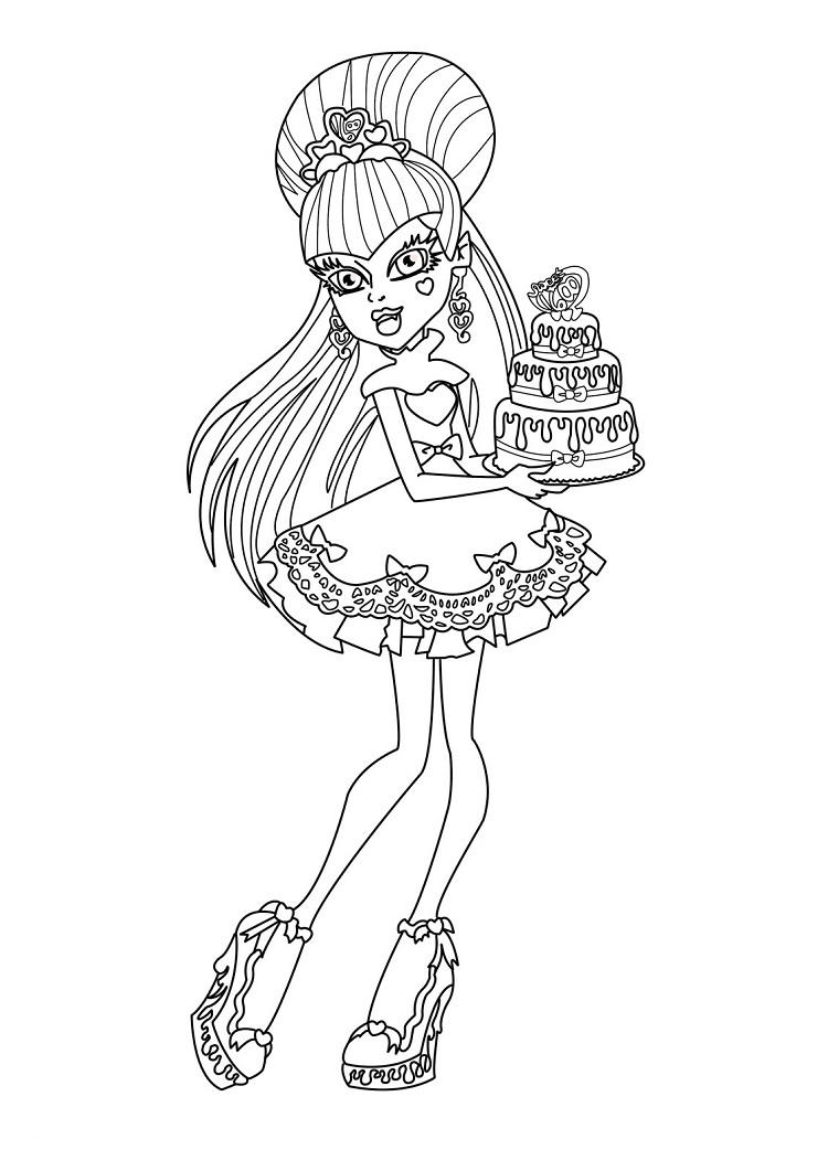 Monster High Happy Birthday Coloring Pages