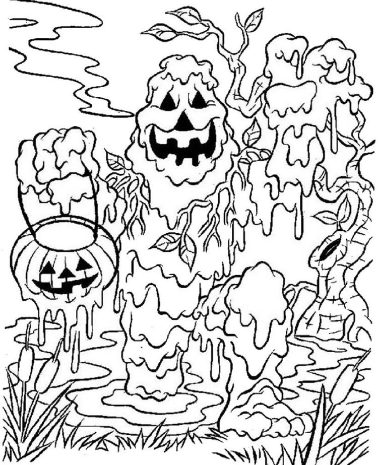 Monster Spooky Halloween Coloring Pages For Kids