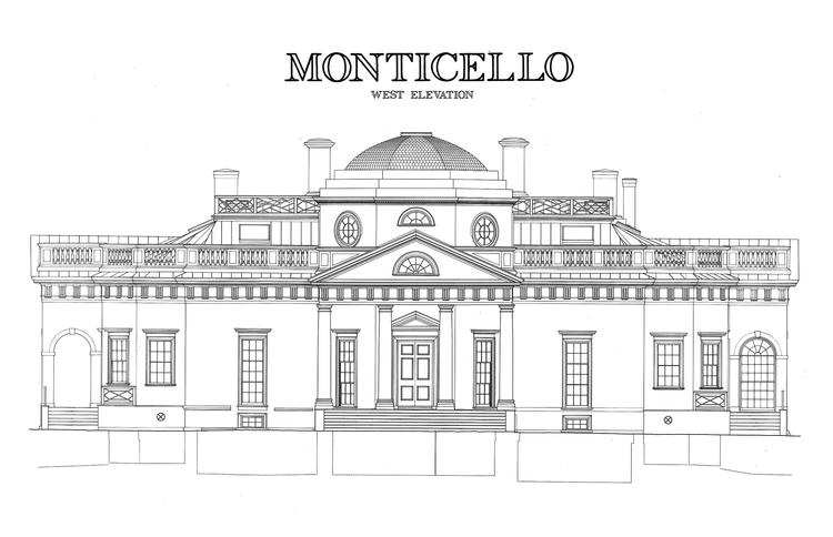 Monticello Thomas Jeffersons Stately Virginia Home Coloring Page