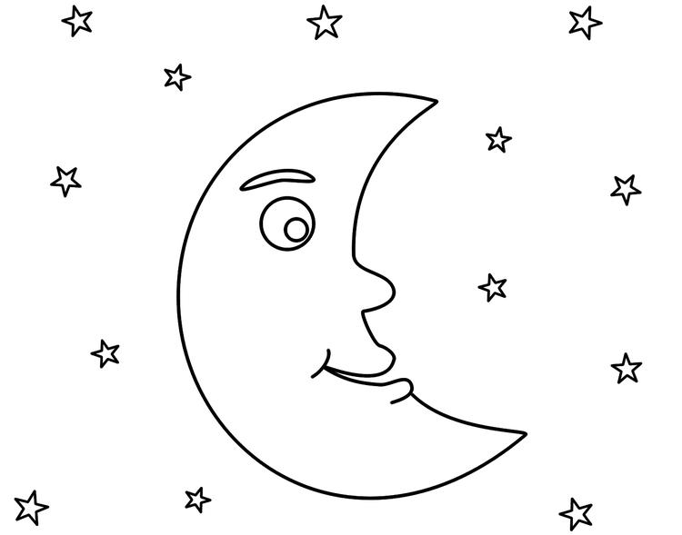 Moon Coloring Pages And Stars