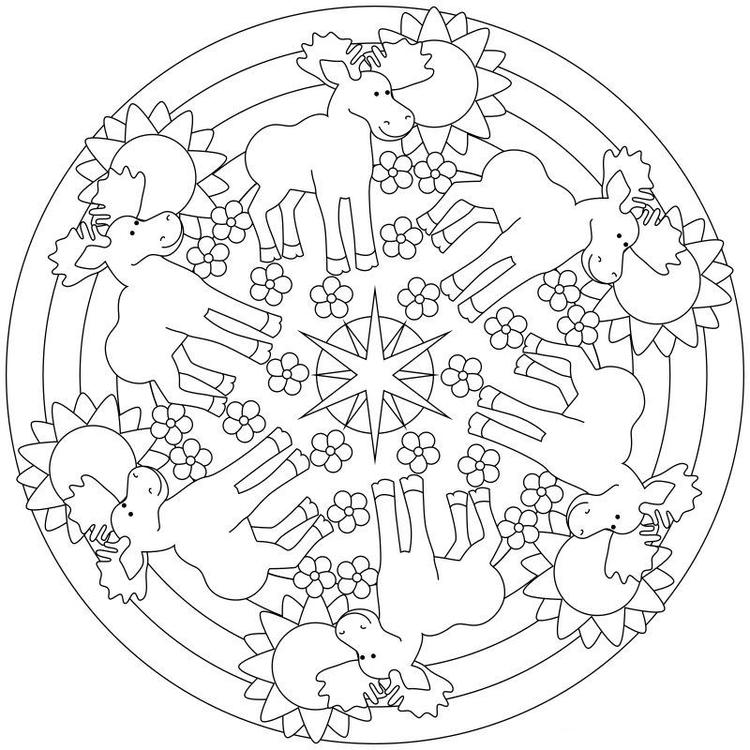 Moose Mandala Coloring Pages