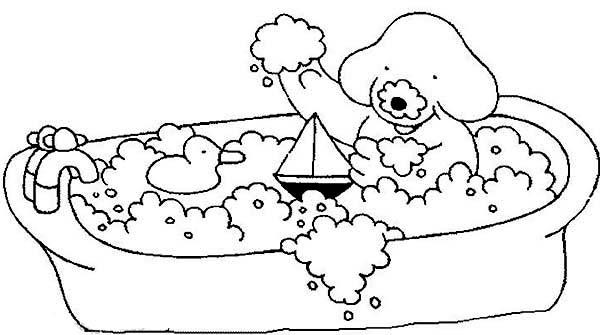 Morning Bath With Sailship And Rubber Duck Coloring Pages