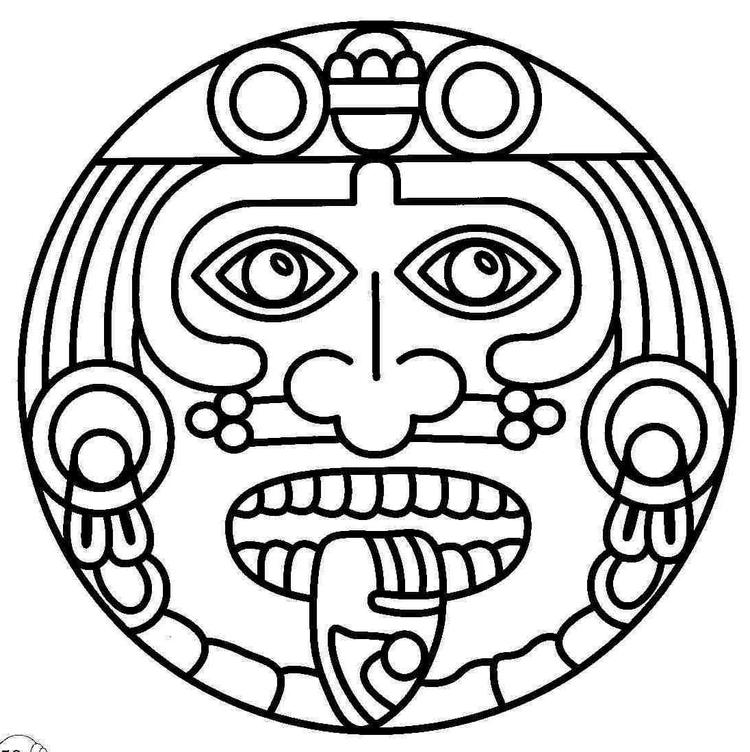 Mosaic And Geometric Ancient Mask Coloring Pages