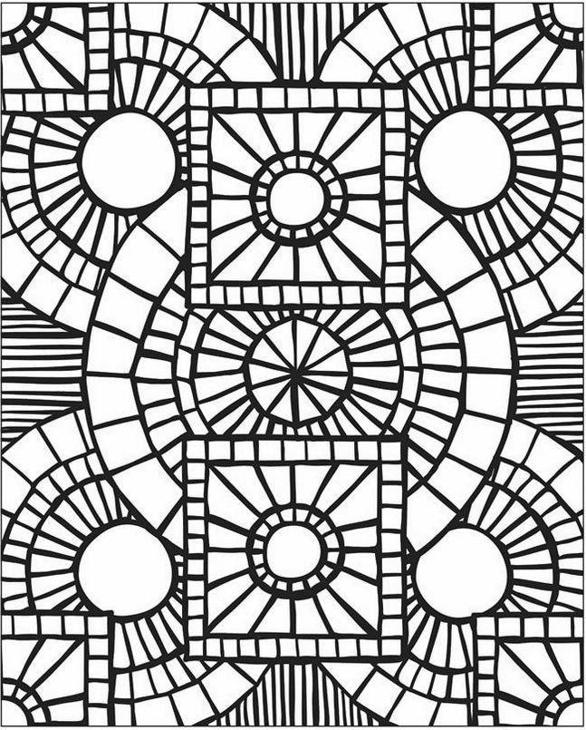 Mosaic And Geometric Patterns Coloring Pages
