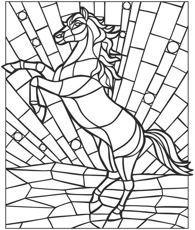 Mosaic Coloring Pages Horse