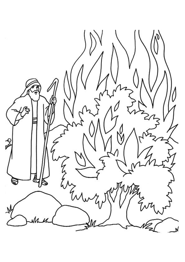 Moses Coloring Pages And The Burning Bush