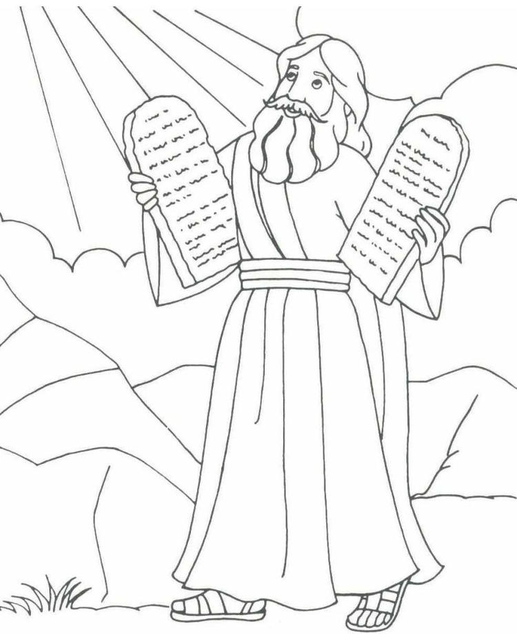 Moses Coloring Pages And The Ten Commandments
