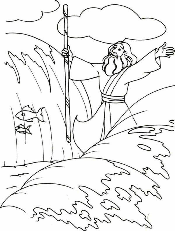 Moses Coloring Pages Parting The Red Sea