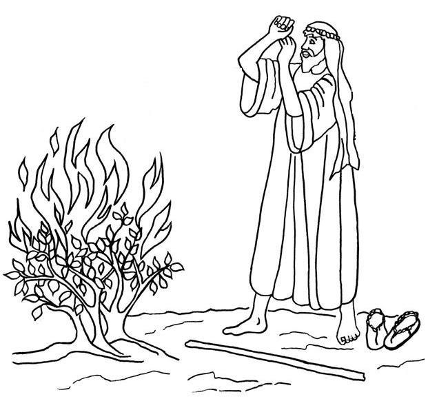 Moses Coloring Pages The Burning Bush