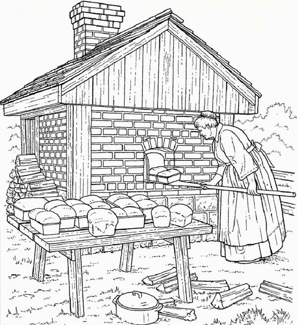 Mother At Farm Life Bakery Coloring Pages