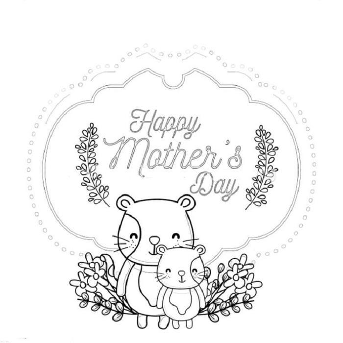 Mothers Day Cat Coloring Pages