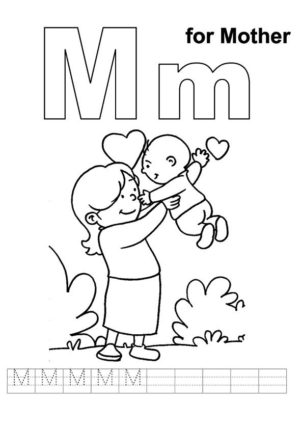 Mothers Day Coloring Pages M For Mother