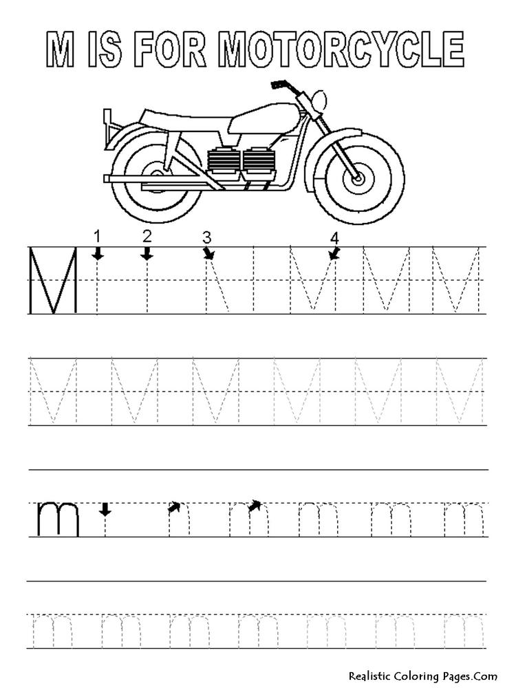 Motorcycle Abc Tracing Coloring Pages
