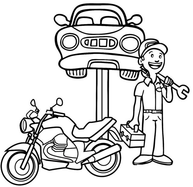 Motorcycle And Car Mechanic Coloring Page