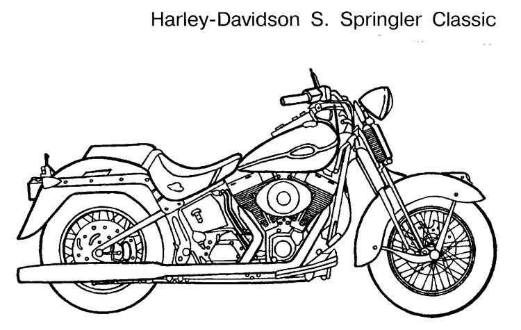 Motorcycle coloring pages harley davidson classic