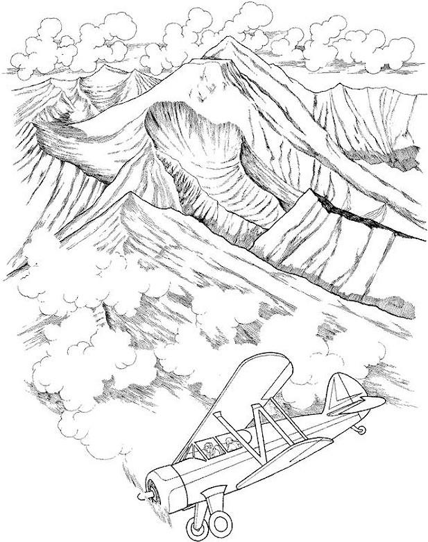 Mountais Landscape Coloring Pages