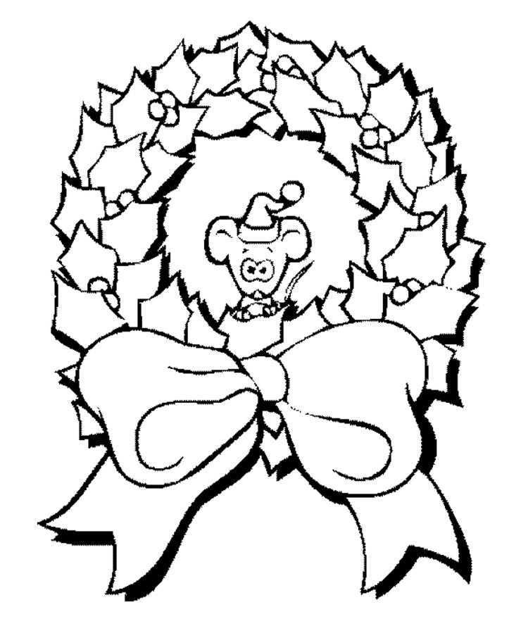 Mouse And Wreath Free Coloring Pages For Christmas