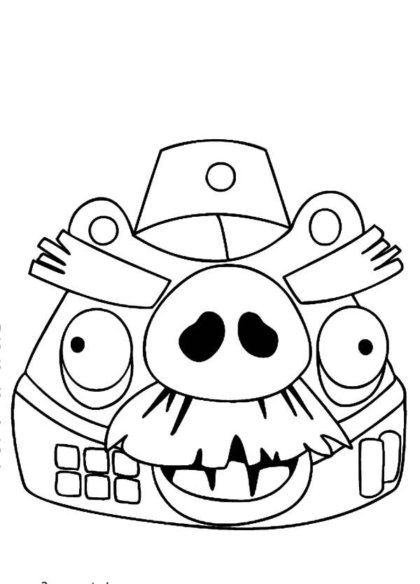 Moustache Imperial Angry Bird Pigs Coloring Pages
