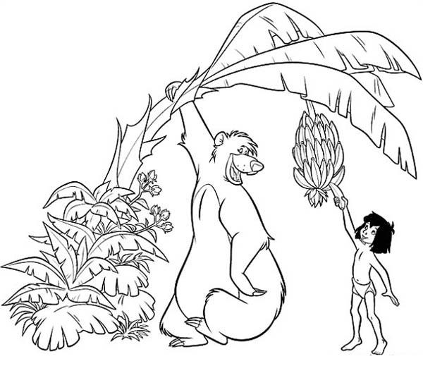 Mowgli Pick Banana With Baloo Help In Jungle Book Coloring Pages