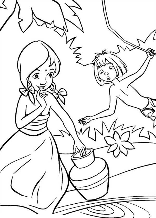 Mowgli Teasing Shanti In Jungle Book Coloring Pages