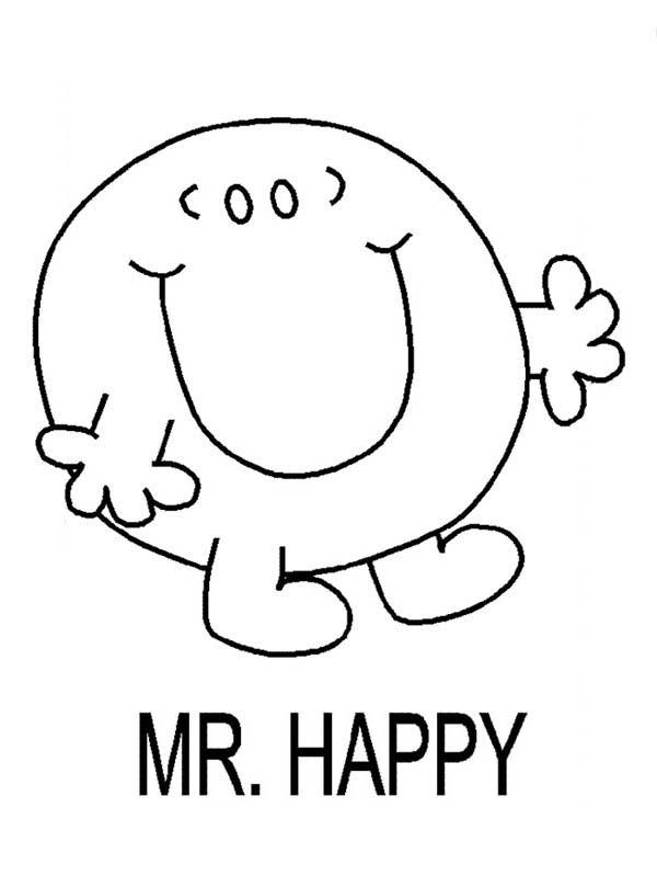 Mr Happy Walking In Mr Men And Little Miss Coloring Pages