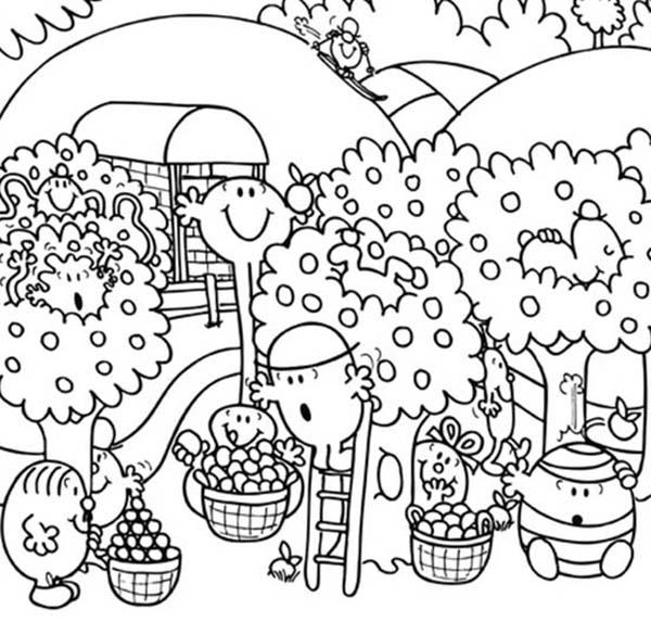 Mr Men And Little Miss Fruit Harvesting Coloring Pages