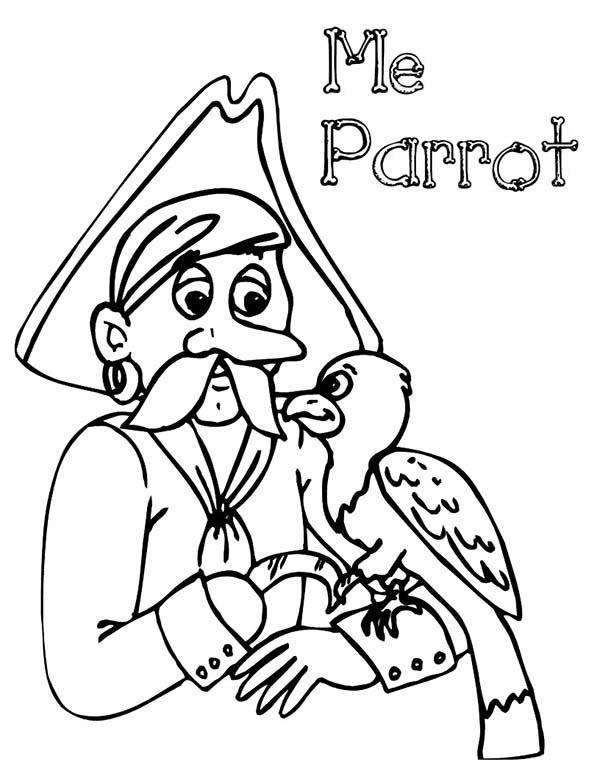Mr Pirate And His Parrot Coloring Pages