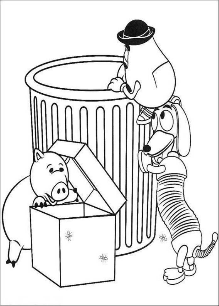 Mr Potato Head Slinky Dog And Hamm Toy Story Coloring Pages