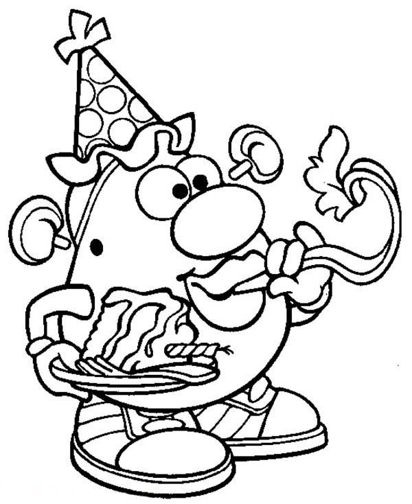 Mr. Potato Head Blow Birthday Trumpet Coloring Pages