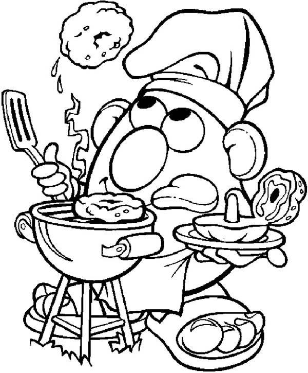 Mr. Potato Head Cook Barbeque Coloring Pages