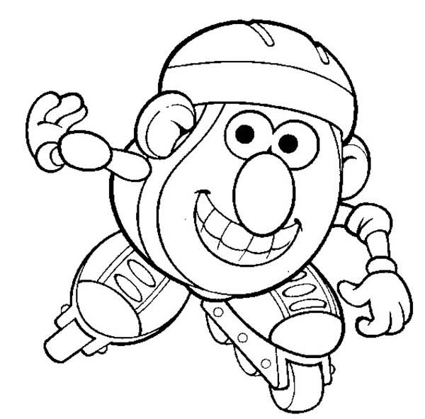 Mr. Potato Head Is Love To Play Rollerskate Coloring Pages
