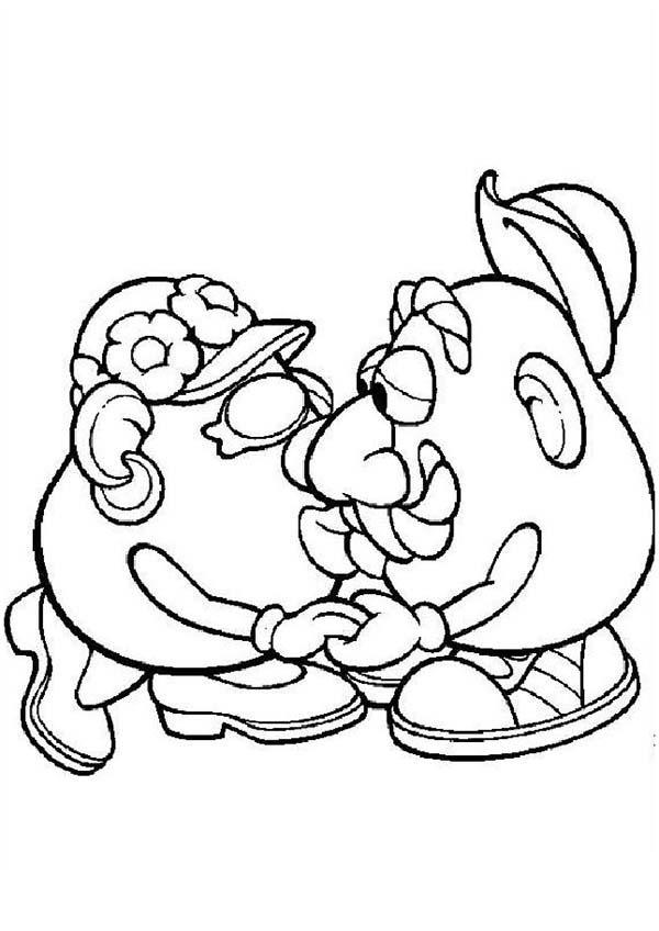 Mr. Potato Head Kiss His Wife Coloring Pages
