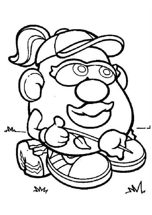 Mr. Potato Head Wife Siiting On A Piece Of Wood Coloring Pages