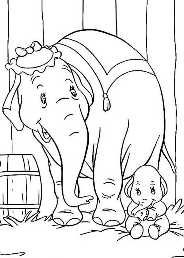 Mrs Dumbo Talking To Her Son Dumbo The Elephant Coloring Pages