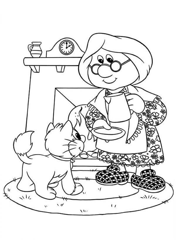 Mrs Goggins Give A Cat A Cup Of Milk Postman Pat Coloring Pages