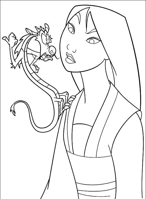 Mulan And Mushu Coloring Pages For Kindergarten