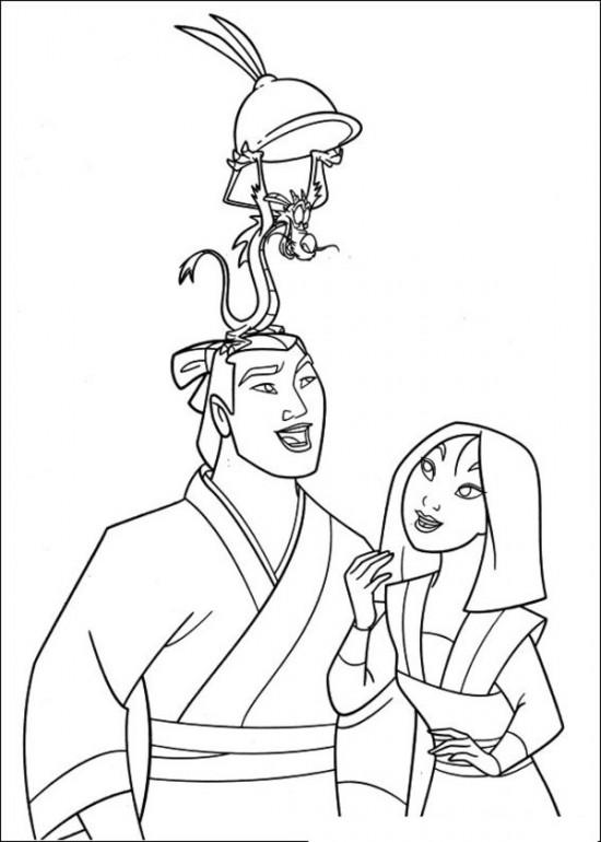 Mulan And Mushu Coloring Pages For Toddler