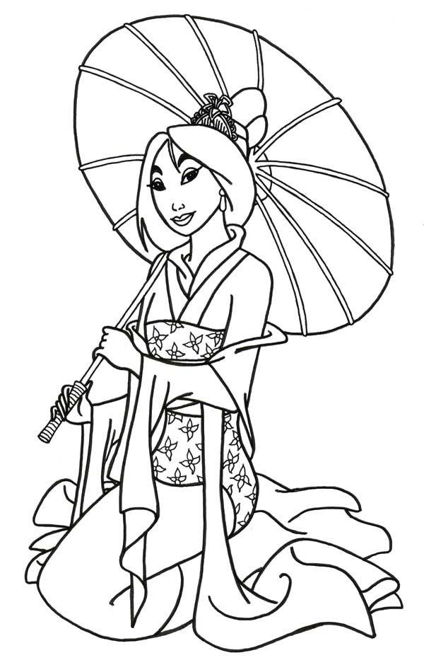 Mulan Coloring Pages Holding Umbrella