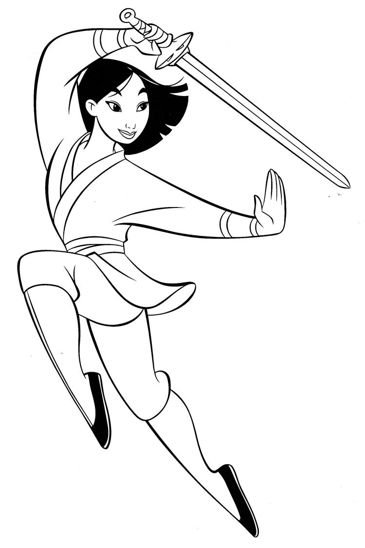 Mulan Coloring Pages Practicing Sword