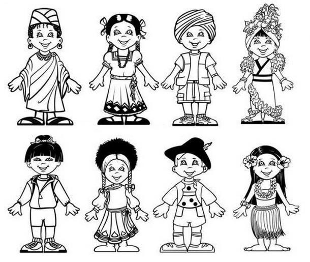 Multicultural Coloring Page For Kids Lesson