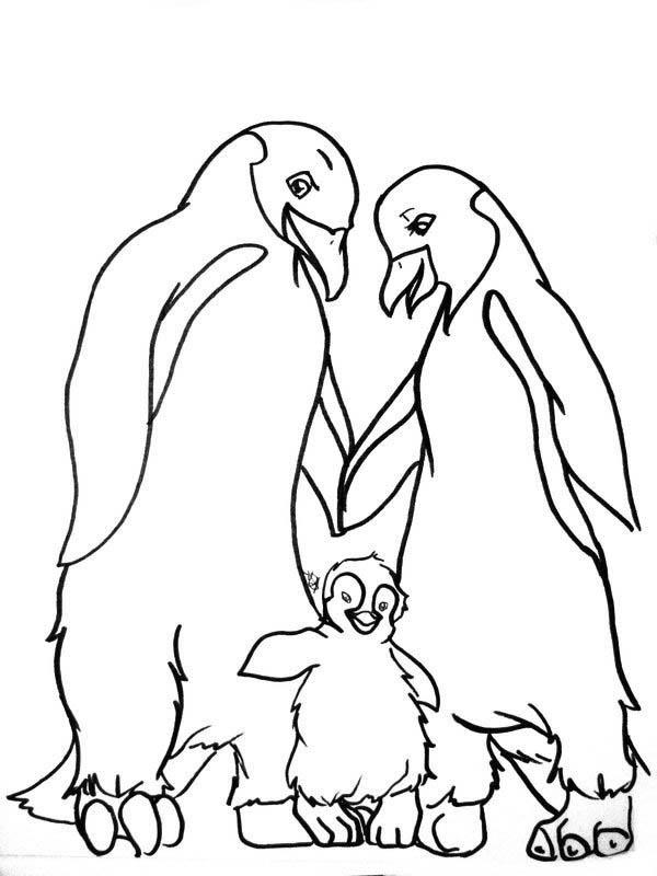 Mumble And His Parents In Happy Feet Coloring Pages