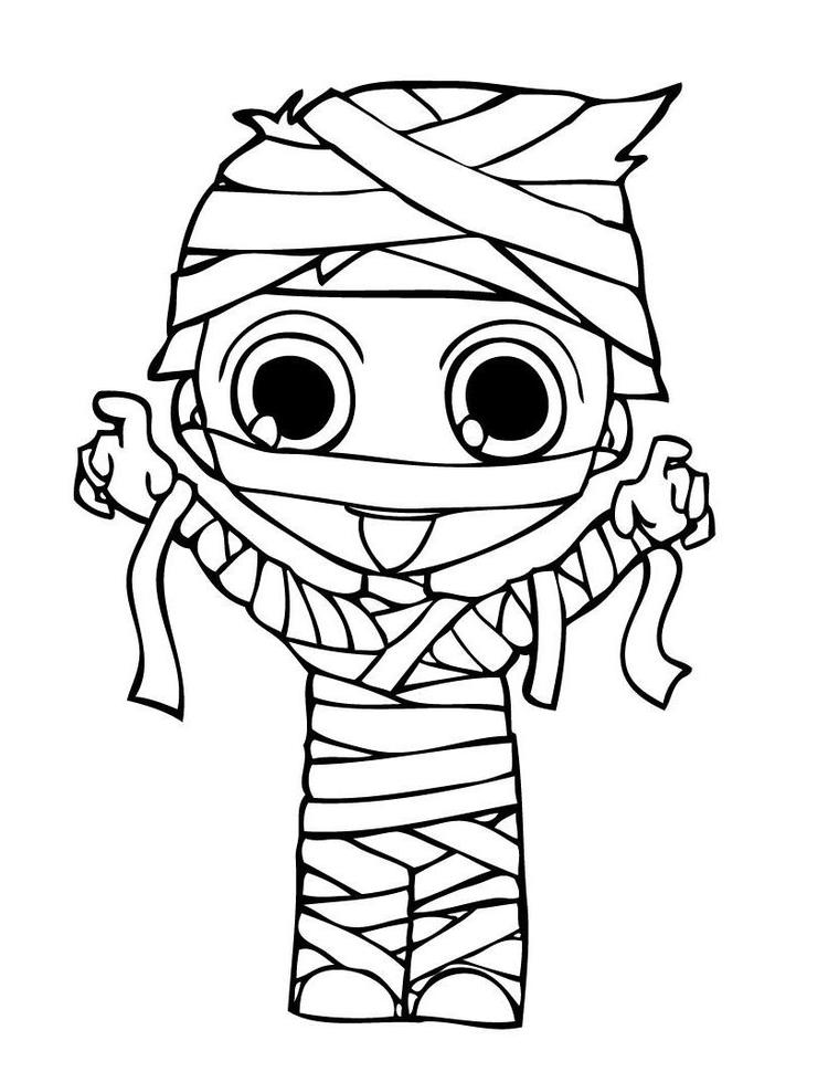 Mummy Costume Halloween Coloring Pages