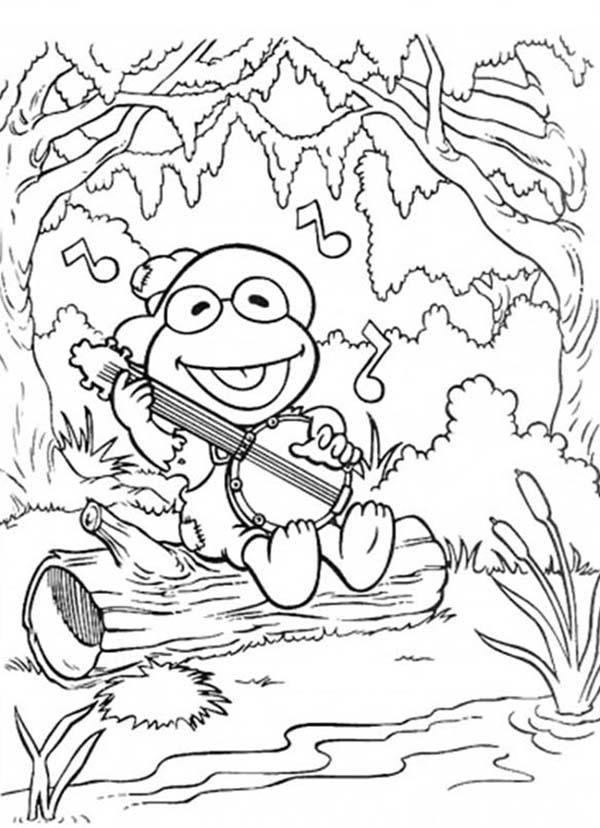 Muppet Babies Elmo Sing A Sing With Guitar Coloring Pages